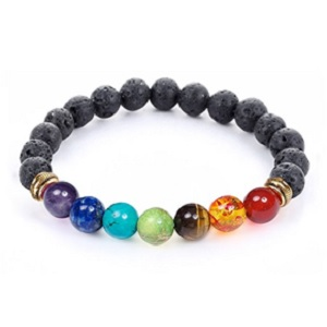 7 Chakra Healing Bracelet with Real Stones and Volcanic Lava from Jewelry Yoga