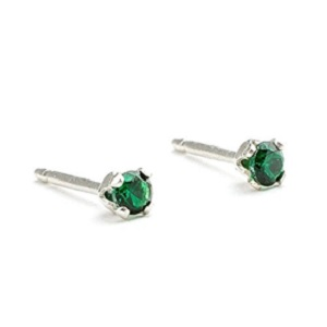 Emerald Gemstone Stud Earrings from Melanie Golden Metalsmith