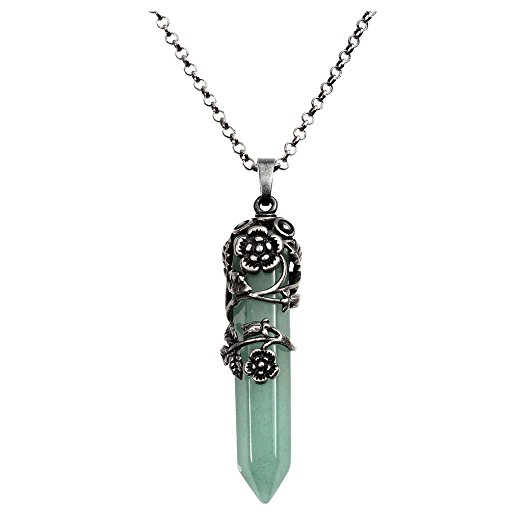 Silver Flower Wrapped Natural Green Aventurine Necklace from Top Plaza