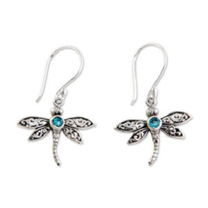 Blue Topaz Enchanted Dragonfly Dangle Earrings from NOVICA