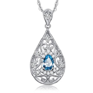 Blue Topaz Sterling Silver Pendant from Carleen
