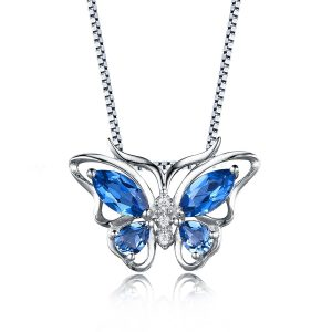 London Blue Topaz Sapphire Butterfly Sterling Silver Pendant Necklace from Aurora Tears