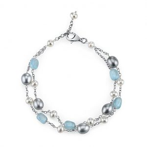 Milky Aquamarine and Freshwater Pearl Sterling Silver Chain Bracelet from Pearlzzz