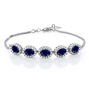 Natural Blue Sapphire Gemstone Bracelet from Gem Stone King