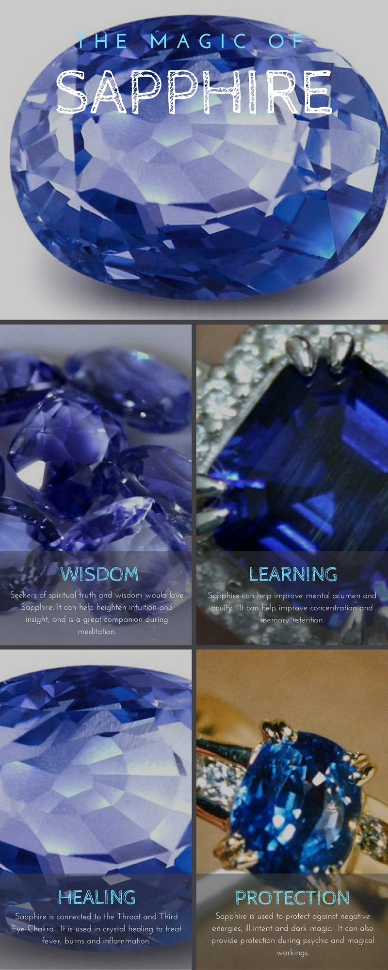 Sapphire Meaning and Uses - Crystal Meanings - Elune Blue (Pinterest)