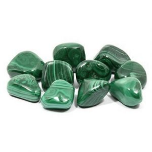 "Malachite is considered the ""stone of transformation,"" helpful when dealing with major life changes or undertaking a new project. -- Malachite Tumbled Stone"